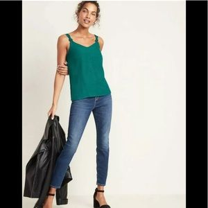 Green Textured-Dobby Cami for Women Size X Small